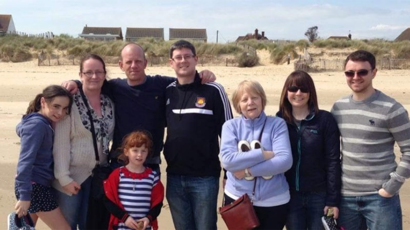 Jason Wilkinson has always supported the hospice, but it has become particularly poignant since the death of his mum to cancer in 2014. Pictured is the family (Jason third from the lefthand Lesley third from the right).