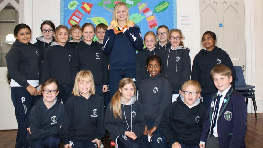 Children at Lincoln Minster School met Double Paralympic champion and world record holder Hannah Russell.