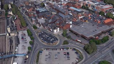 Lincoln Train Station and the old Bus Station. Photo: Google Earth