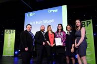 Hill Holt Wood collect their award from guest speaker David Hyner, left, Elaine Lilley, chief executive of The EBP, second in from right, and Kayleigh Wells, The EBP's work experience co-ordinator, right. Photo: Chris Vaughan