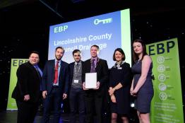 Lincolnshire County Council Drainage collect their award from guest speaker David Hyner, left, Elaine Lilley, chief executive of The EBP, second in from right, and Kayleigh Wells, The EBP's work experience co-ordinator, right. Photo: Chris Vaughan