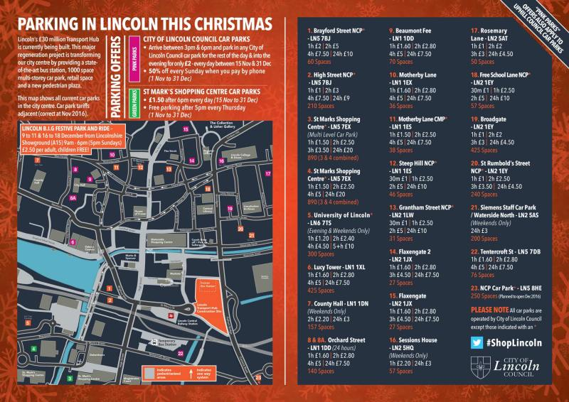 Click to expand the Lincoln Christmas parking guide.