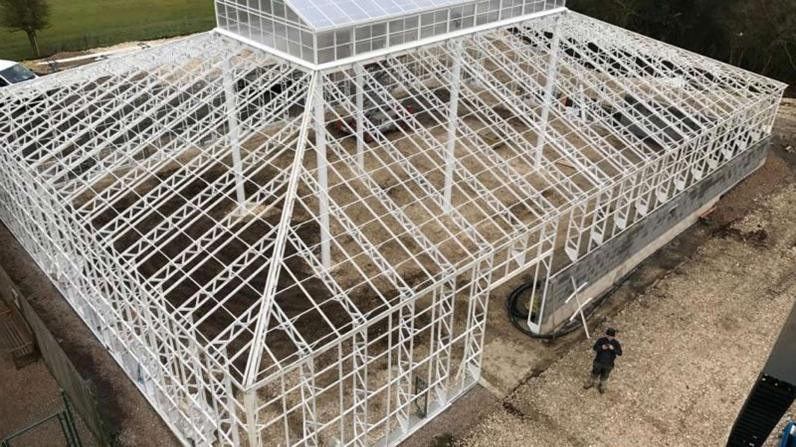 The structure of the new conservatory is almost complete