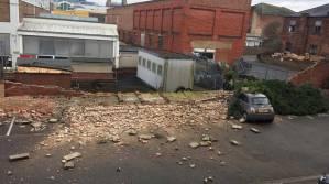 A wall has fallen on Riverside Driver. Photo: Jamie Lamotta