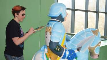 Mel Langton works on the Inspiring a New Generation Knight