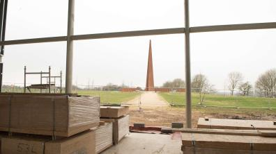 The atrium space will overlook the Bomber Command memorial and will be the 'hub' of the building, signposting visitors to each of the county's proud aviation spots. Photo: Steve Smailes for The Lincolnite