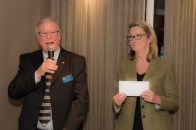 Ray Peters of Rotary Club of Lincoln Colonia with Elly Sample, representing sponsors the University of Lincoln. Photo: Douglas Scott