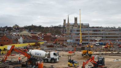 Work continues on the transport hub. Photo: Jamie Waller
