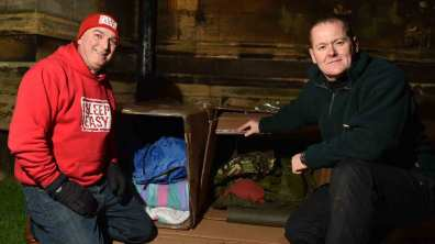 Almost 90 people braved the elements to sleep rough outside Lincoln Cathedral. Photo: Steve Smailes for The Lincolnite