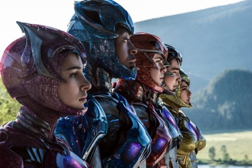Becky G., Dacre Montgomery, Naomi Scott, Ludi Lin, and RJ Cyler in Power Rangers. Photo by Lionsgate.