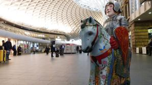 The five Lincoln Knights have arrived at King's Cross Station.