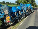 Delays after lorry crashes into ditch near Lincoln