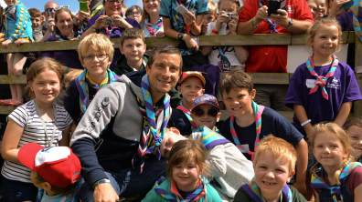 Bear touched down at the Lincolnshire Showground to join thousands of Scouts and Guides from around the world.