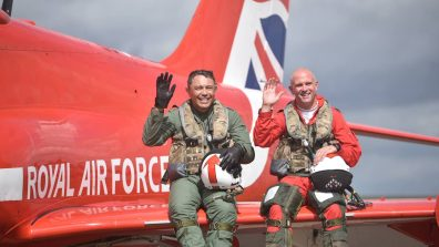 (L-R) Rory Underwood MBE and Squadron Leader Mike Ling. Photo: Steve Smailes for The Lincolnite