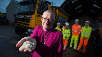 Bishop of Grimsby Reverent David Court blessing the gritters at Sturton by Stow | Photo: Steve Smailes for The Lincolnite
