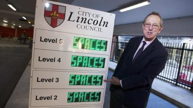 City of Lincoln Council Leader Ric Metcalfe at the new Lincoln Central car park. Photo: Steve Smailes for The Lincolnite