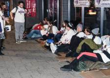 Group sleeps on street to support homeless