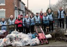 Lincoln volunteers clean up bags of river rubbish