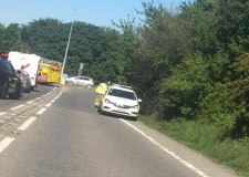 Road blocked due to A46 roundabout crash