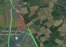 Tractor fire closes A15 Sleaford Road
