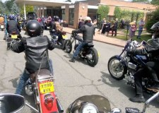 Hundreds turn out for emotional biker funeral rally