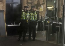 Police cordon at smashed up Lincoln railway station