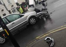 Motorbike rider injured in Burton Road crash