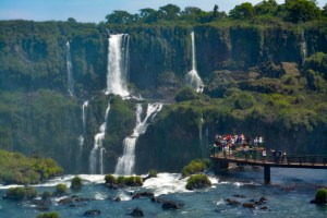 The walkway over Iguazu Falls in Brazil with Argentina in the background.