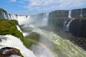 Iguazu Falls with a rainbow in Brazil.
