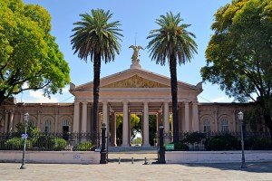 The grand entrance to Chacarita Cemetery in Buenos Aires, Argentina.