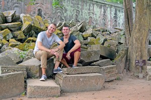 Scott Swiontek and John Line Ta Promh Temple, Siem Reap, Cambodia.