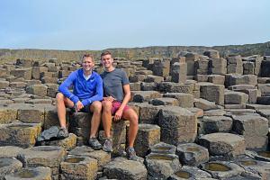 Scott Swiontek and John Line at Giants Causeway on the Antrim Coast in Northern Ireland, United Kingdom.