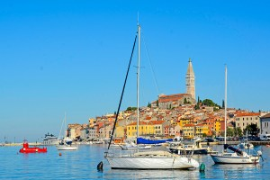 View of the port of Rovinj in Istria, Croatia.