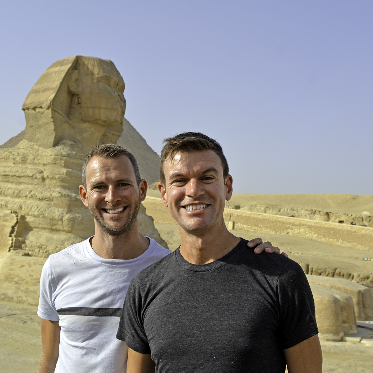 Scott Swiontek and John Line in front of the Sphinx in Giza, Cairo, Egypt.