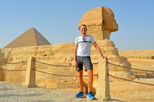 Scott Swiontek in front of the Sphinx in Giza, Cairo, Egypt.