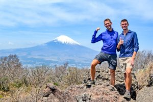 John Line and Scott Swiontek in front of Mt. Fuji, Hakone, Japan.