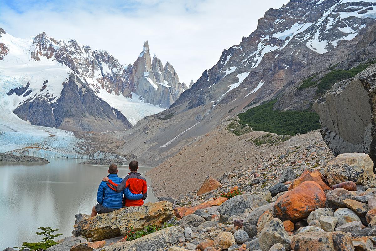 John Line and Scott Swiontek at Cerro Torre in El Chalten, Patagonia, Argentina.