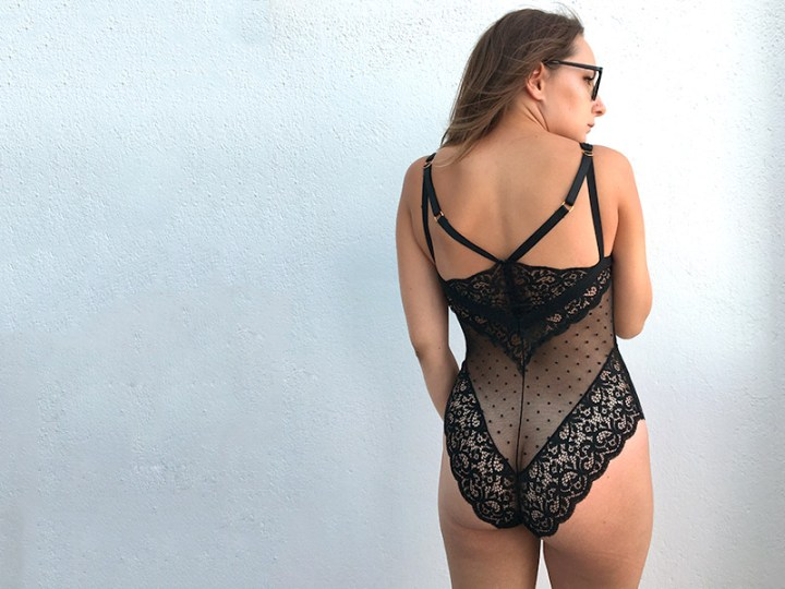 Mesh and lace Eva bodysuit for the fuller bust by Tutti Rouge
