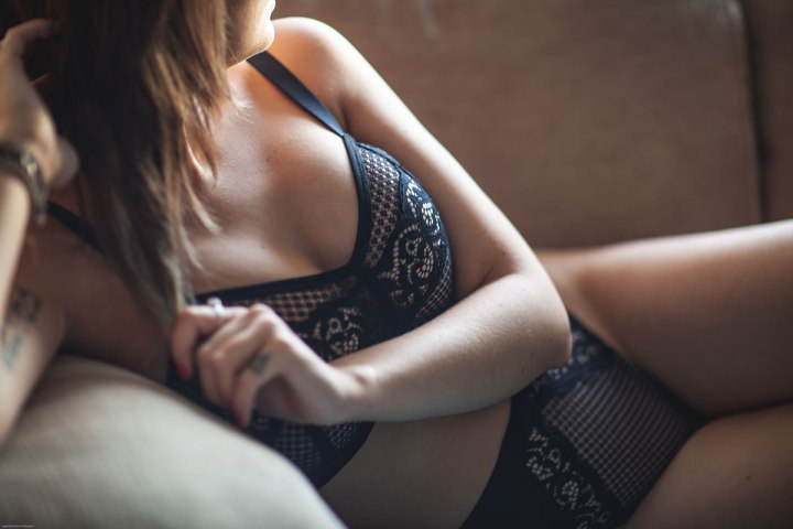 the lingerie princess wears the frankie bralette set in black from fuller bust brand rougette by tutti rouge.