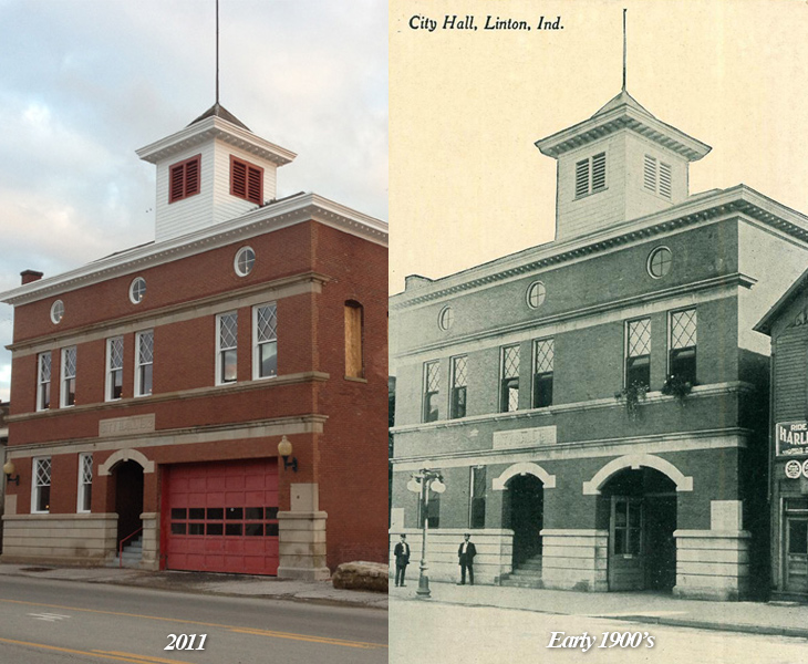 The former Linton City Hall building recently had new windows installed that are detailed replicas of those that adorned the building in the early 1900's
