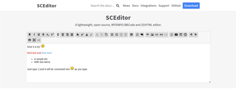 sceditor free wysiwyg html editor