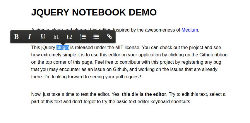 jquery notebook