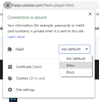 allow flash player