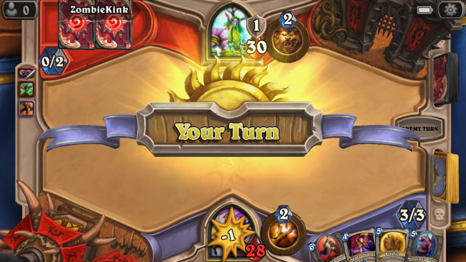 Hearthstone Game In Progress - showing Your Turn notification banner