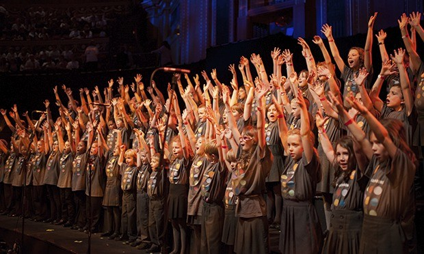 Children from Suffolk and Yorkshire sing Friday Afternoons at the Royal Albert Hall this month. Photograph: Anna McCarthy