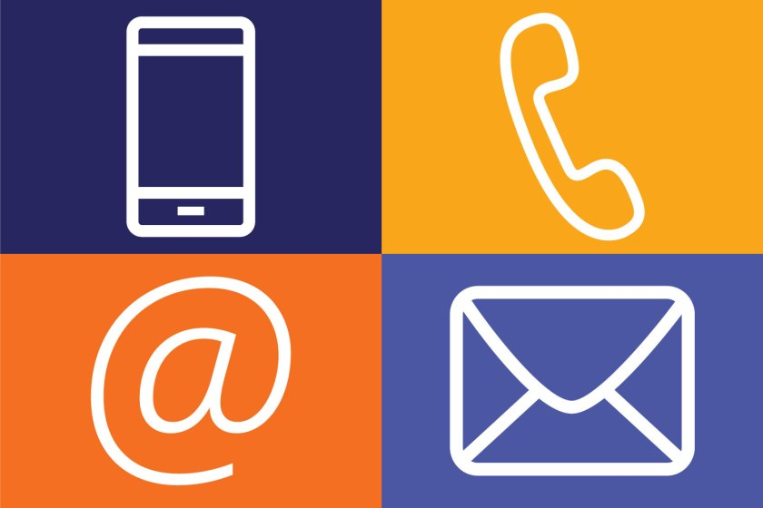 Icons of a cellphone, phone, envelope and email of The Literacy Group