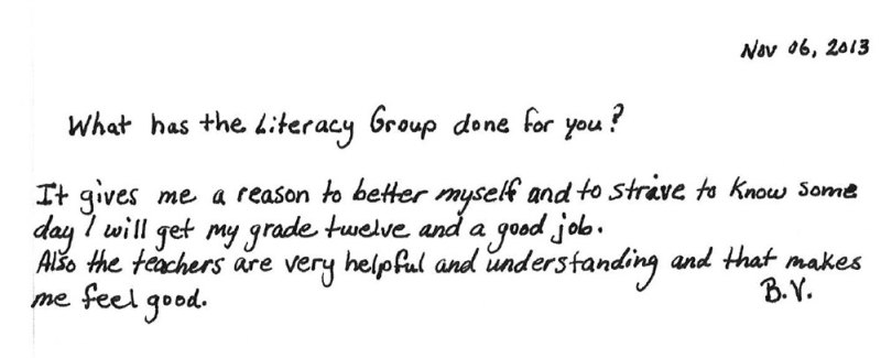 BV own words for The Literacy Group