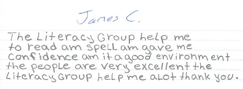 James own words for The Literacy Group