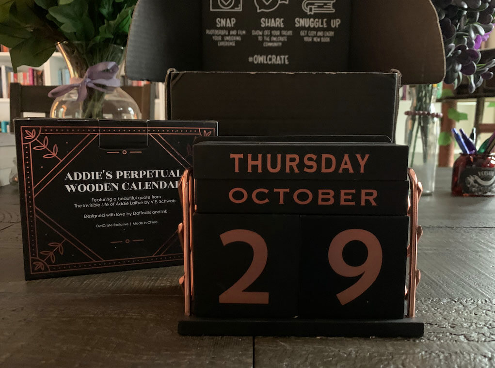 Perpetual Wooden Calendar from the Addie LaRue Owlcrate Special Edition Box