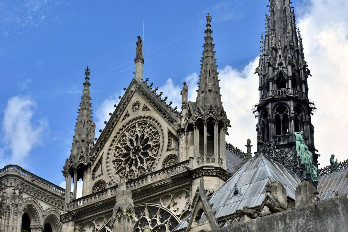 Notre Dame window and spire 2018
